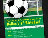 INSTANT DOWNLOAD Soccer Birthday Invitation, Printable, Customizable MicroSoft Word Template