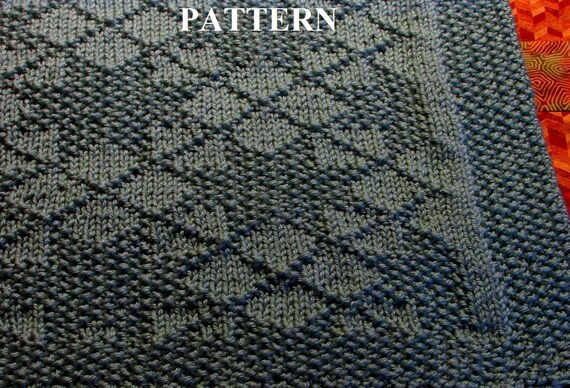 Knit Baby Blanket Pattern, Knitting Pattern, Worsted Weight, Knit Purl Stitch...