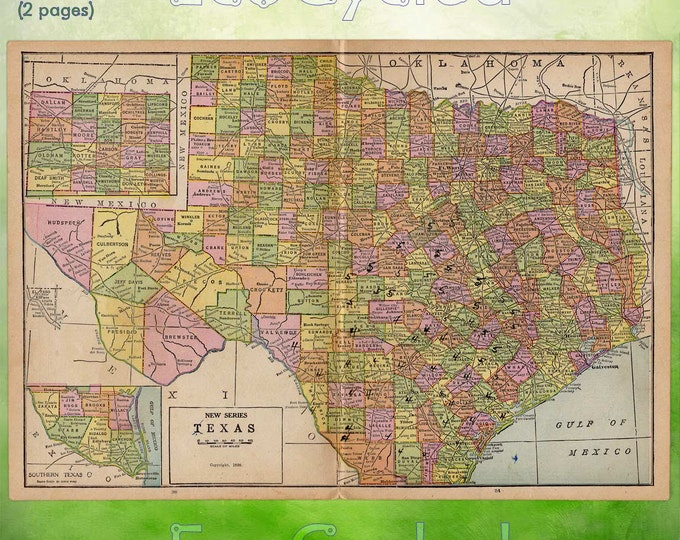 Vintage Atlas Map of 1920 Texas Antique Map full color World Atlas Paper Ephemera Historical Geography Approx 10 x 14.5 Inches WR280