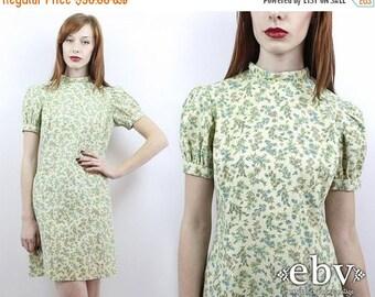 Vintage 60s Green Floral Puff Sleeve Mini Dress M Puff Sleeve Dress Summer Dress Party Dress 60s Dress Floral Mini Dress