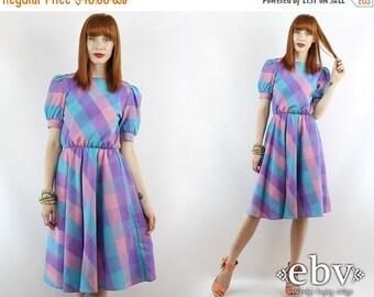Vintage 80s Pink Purple Blue Plaid Babydoll Dress S M Vintage Plaid Dress Puff Sleeve Dress Day Dress Summer Dress Plaid Sundress