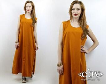 Minimalist Dress Normcore Dress Pumpkin Dress Simple Dress 90s Maxi Dress 90s Dress Vintage 90s Pumpkin Maxi Dress M L