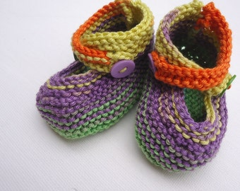 Knitted baby booties - multicolor way, buttoned straps, knit baby shoes - yellow, orange, purple, green