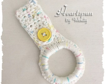 Variegated Cotton dish towel or hand towel ring holder, great for holding towels and more in the kitchen, bathroom, laundry, nursery, etc