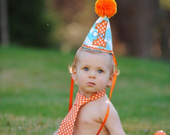 cake smash and first birthday outfit, aqua and orange birthday hat diaper cover and tie set