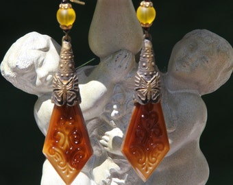 Circa 1920s/1930s Antique Art Nouveau / Art Deco Czech Glass Dangle Earrings w/ Swirled Caramel and Mahogany Brown-Colored Molded Drops