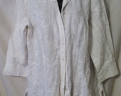 """LABOR DAY SALE Nice 80s Vintage White Cotton Embroidered-Man Tailored-Front Button-Tunic Top Blouse-Willi Smith-Large-44"""" Bust-Size 12-Resor"""