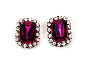Purple and Rhinestone Earrings, Emerald Cut, Clip on, Rectangular Shape, Old Hollywood, Glam