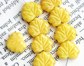 10pc Yellow Leaf Beads, Maple leaves, Czech glass pressed bead - 11x13mm - 0591
