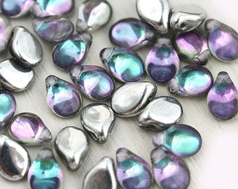 PiP beads, Crystal Vitrail, Silver coating, Peacock czech glass flat drops, top drilled, Preciosa, teardrops,  5x7mm - 40Pc - 2830
