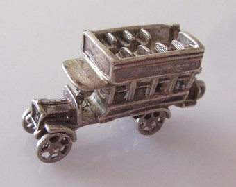 Large Silver Open Top Bus Charm Moves