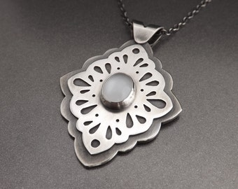 Elegant Silver Pendant - Statement Jewelry - OOAK Ornate Jewelry Handcrafted
