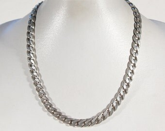 French Vintage 80s Braided Solid Thick Silver Plate Chain