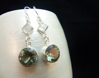 Alexandrite & Moonstone Silver Handmade Earrings