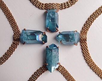 Aqua Aura Quartz Shard Necklace - Brass