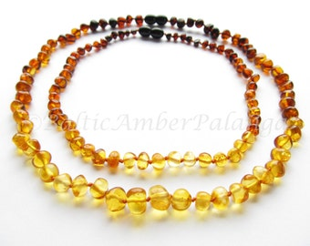 Baltic Amber Teething Set for Baby and Mommy Rainbow Color Rounded Beads