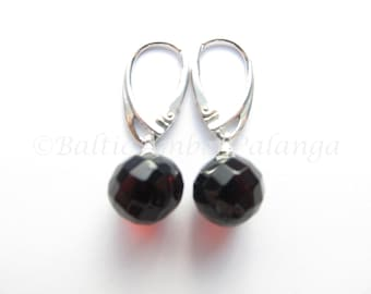 Baltic Amber Dangle Faceted Cherry Color Earrings
