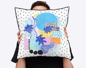 Babylon Painted Abstract Cushion Cover with Natural Linen Reverse and Leaf Motifs and Pom Pom trim