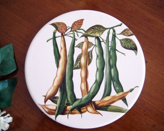 Vintage Kitchen Wall Decor Tile, Trivet, Garden Green Bean Print, White Porcelain