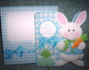 Handmade boy bunny Easter card and envelope
