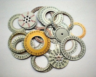 20+ Piece Assorted Lot Watch Day & Date Rings, NOS and Some Harvested Parts From Vintage Gents and Smaller Wrist Watches, Steampunk Jewelry