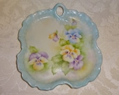 Vintage Plate Ceramic Pastel African Violet Decorative Plate Dish Wall Decor Easter