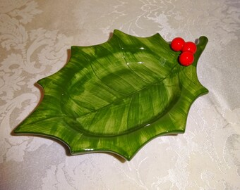Vintage Otagiri Holly Dish Bowl Trinket Dish Tray Christmas Candy Dish