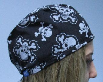 Womens Surgical Scrub Hat Chemo  Medical  Cap Black and White  skull Hat, scrub hat  chemo hat  scrubs headwear  chemotherapy cap