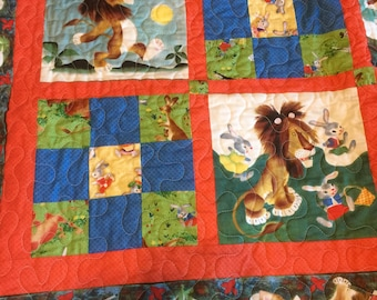 The Tawny Scrawny Lion Homemade Quilt and Free Golden Book
