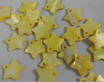 20 Beads - Yellow Star Mother Of Pearl Star Beads