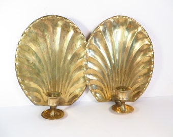 Brass Star Wall Sconces - Set of Two Vintage Wall Candle Holders
