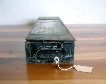 Vintage Bank Deed Box - Security Deposit Box - Black Rusty Patina