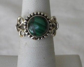 Malachite Ring Handmade Ring 10mm Green Semiprecious Gemstone Ring Sterling Silver Ring Size 6 1/2 Take 20% Off Women's Malachite Jewelry