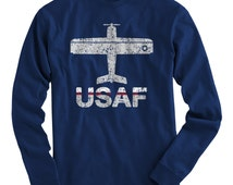 LS Fly USAF T-shirt - Air Force Long Sleeve Tee - Men and Kids - S M L XL 2x 3x 4x - U.S. Air Force Shirt - 2 Colors