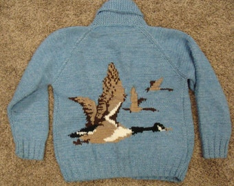 men's INTARSIA KNIT SWEATER chunky knit geese blue xl L