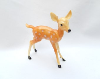 vintage doe figurine, fawn, miniature deer with white spots, made in Hong Kong, 1950s, collectible animal figurine
