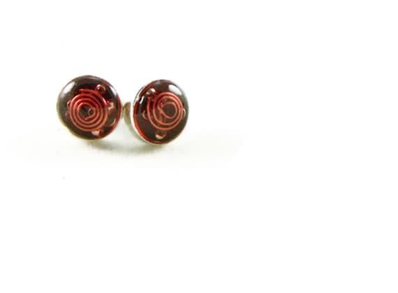 Orgone Energy Tiny Circle Post Earrings - Stud Earrings - Red Garnet Gemstone - Simple Earrings - Minimalist - Orgone Energy Jewelry