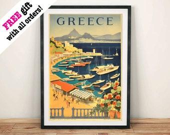 GREECE TOURISM POSTER: Vintage Greek Athens Bay Travel Advert, Art Print Wall Hanging