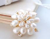 Pearl Flower Brooch Belt Pin Crystal Brooch Bridesmaid Lapel Brooch Real Pearls
