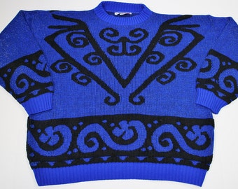 1980s Ugly Sweater - Blue Oversized Glittery Sweater- Ice Skater Sweater - Tacky - XL