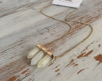 quartz Crystal point necklace in gold, boho statement necklace