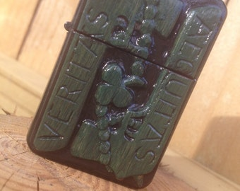 Hand-Carved Veritas/Aequitas Pistols w/ shamrock rosary - Wind Proof Lighter