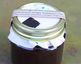Homemade Peach Honey Ginger Balsamic Jam - 8oz