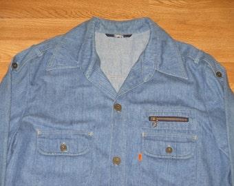 Rare Vintage 1970s Levis Chambray Orange Tab Denim Jacket