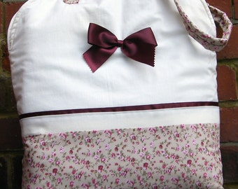 Cream and taupe with burgundy and pink floral padded fabric Bag. Women's Handbag. Girls Bag. Teens Bag. Tote Bag. Shopper.
