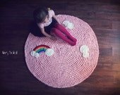 Rainbow Rug with Clouds Cotton Children's Rug