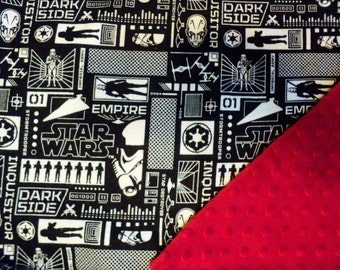 "Star Wars Baby Blanket, Security Blanket With Minky 19""X23"" Lovey, Geek Baby, Star Wars Baby Girl or Boy, Christmas Gift, Baby Shower Gift"