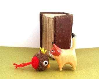 Red Woodland Bird Catnip Cat Toy - Needle Felted Wool