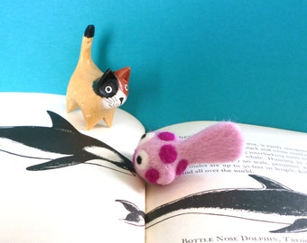 Pink Spotted Fish Catnip Cat Toy - Needle Felted Wool