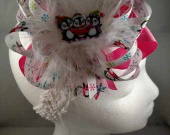Christmas Pink Penguins Over-The-Top Hair Bow Hairbow